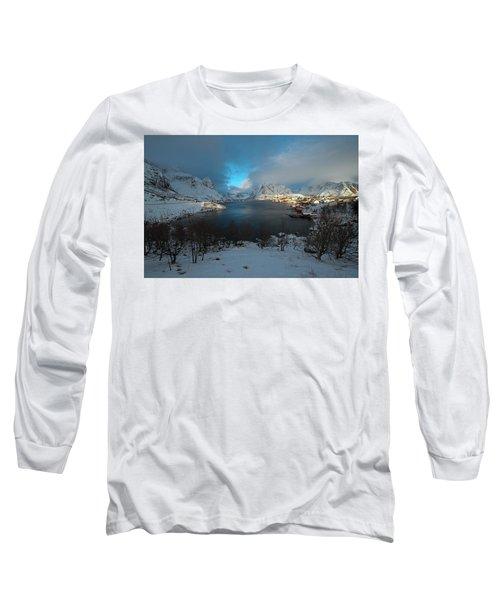 Blue Hour Over Reine Long Sleeve T-Shirt by Dubi Roman