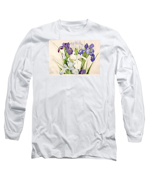 Blue Irises-posthumously Presented Paintings Of Sachi Spohn  Long Sleeve T-Shirt by Cliff Spohn
