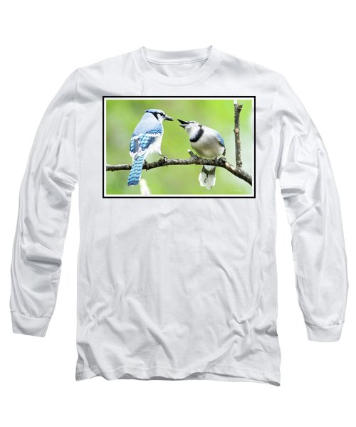 Blue Jay Parent Feeding Juvenile Long Sleeve T-Shirt