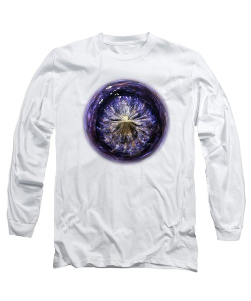 Blue Jelly Fish Orb On Transparent Background Long Sleeve T-Shirt