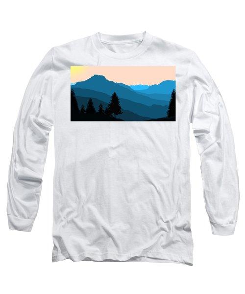 Blue Landscape Long Sleeve T-Shirt by Thomas M Pikolin