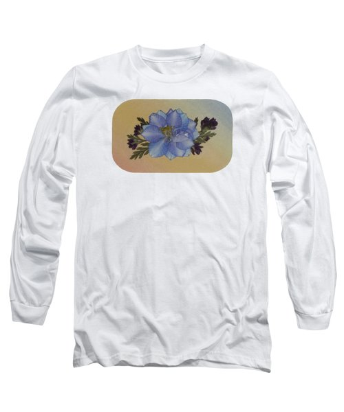 Blue Larkspur And Oregano Pressed Flower Arrangement Long Sleeve T-Shirt