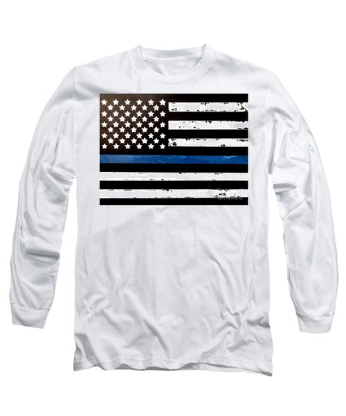 Long Sleeve T-Shirt featuring the painting Blue Line Flag by Denise Tomasura