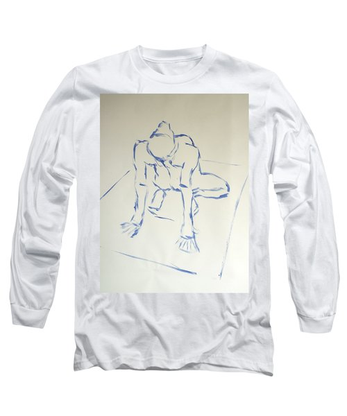 Blue Line Painting Of A Male Nude Kneeling On His Heels And Resting On Hands Which Are Behind Him Long Sleeve T-Shirt