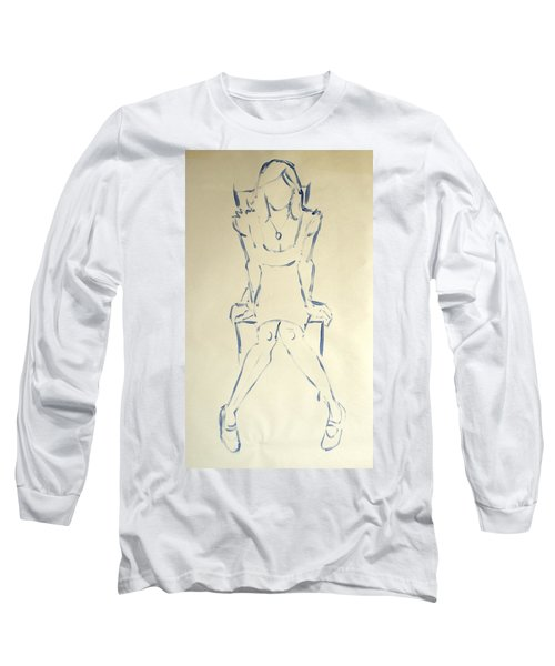 Blue Line Painting Of Woman Sat On Chair With Hands On The Sides Of Her Legs Long Sleeve T-Shirt