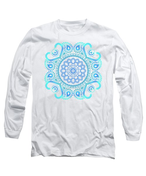 Blue Lotus Mandala Long Sleeve T-Shirt by Tammy Wetzel