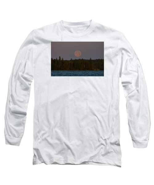 Blue Moon Over Berry Lake Long Sleeve T-Shirt by Steven Clipperton