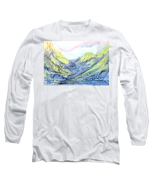 Blue Mountains Alcohol Inks  Long Sleeve T-Shirt by Danielle  Parent