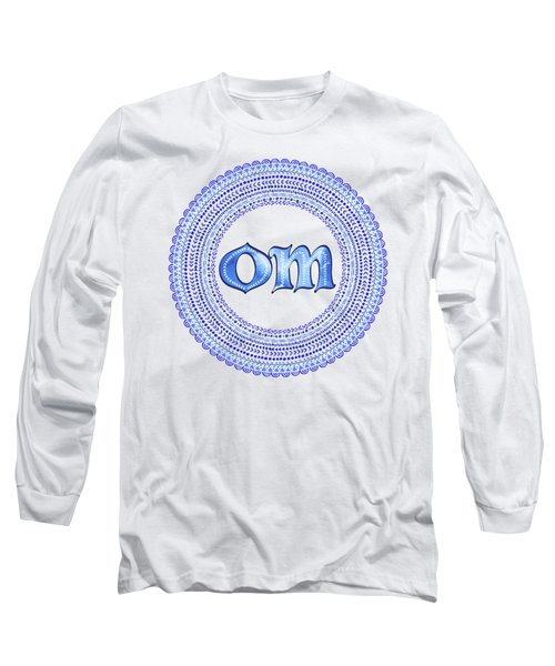 Blue Om Mandala Long Sleeve T-Shirt by Tammy Wetzel