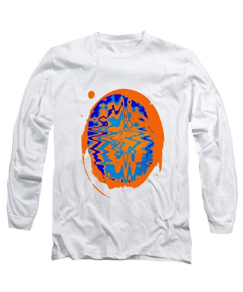 Blue Orange Abstract Art Long Sleeve T-Shirt
