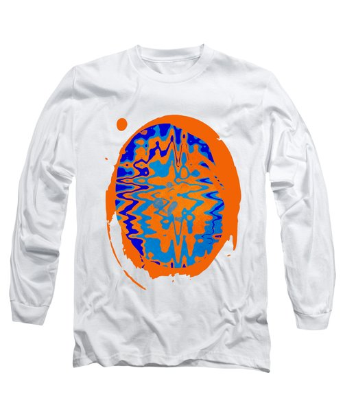 Blue Orange Abstract Art Long Sleeve T-Shirt