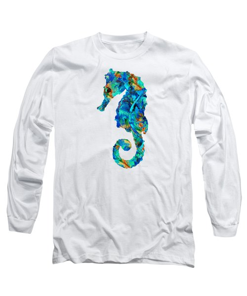 Blue Seahorse Art By Sharon Cummings Long Sleeve T-Shirt