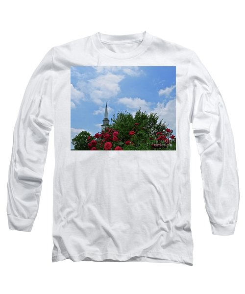 Blue Sky And Roses Long Sleeve T-Shirt