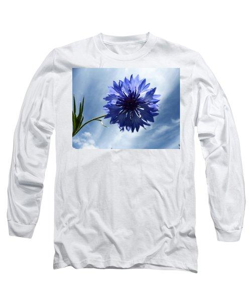 Blue Sky Blue Flower Long Sleeve T-Shirt by Tina M Wenger