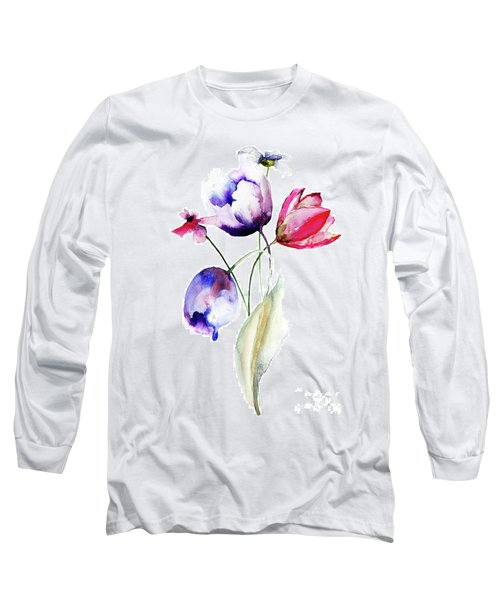Blue Tulips Flowers With Wild Flowers Long Sleeve T-Shirt