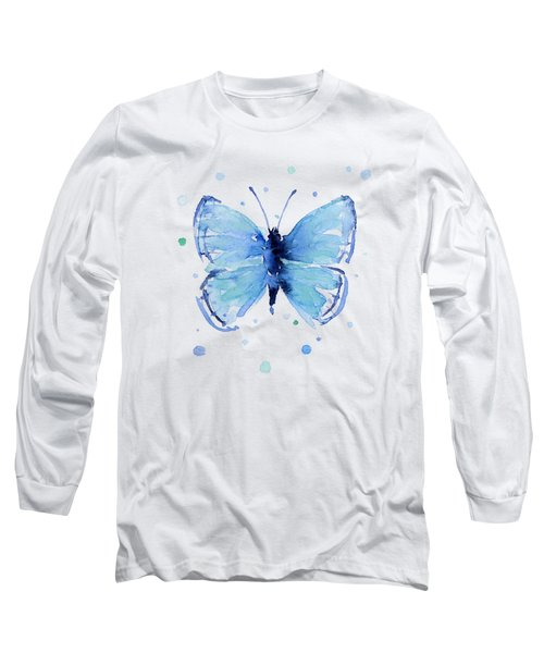 Blue Watercolor Butterfly Long Sleeve T-Shirt