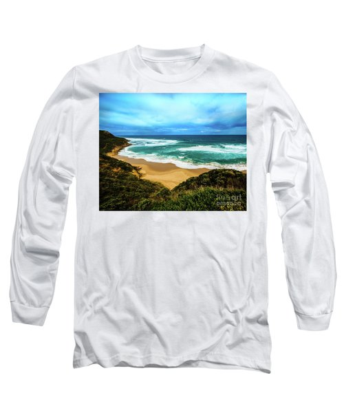 Long Sleeve T-Shirt featuring the photograph Blue Wave Beach by Perry Webster