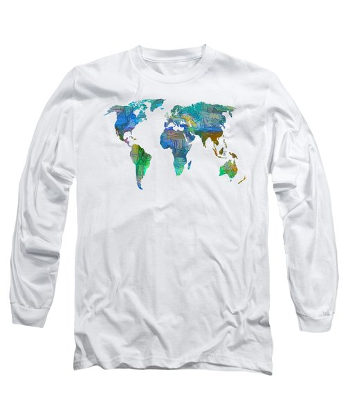 Blue World Transparent Map Long Sleeve T-Shirt