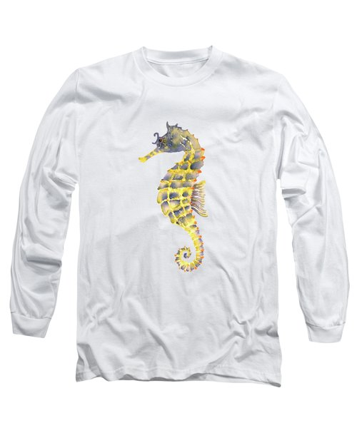 Blue Yellow Seahorse - Square Long Sleeve T-Shirt by Amy Kirkpatrick