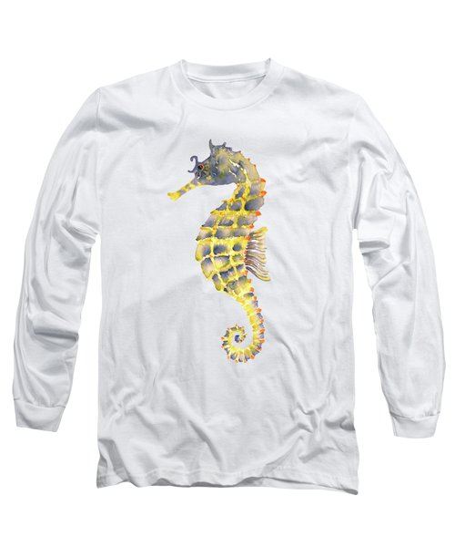 Blue Yellow Seahorse - Vertical Long Sleeve T-Shirt by Amy Kirkpatrick