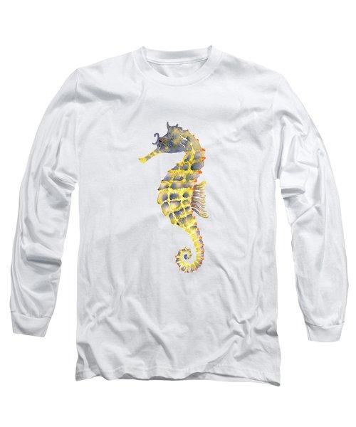 Blue Yellow Seahorse - Vertical Long Sleeve T-Shirt