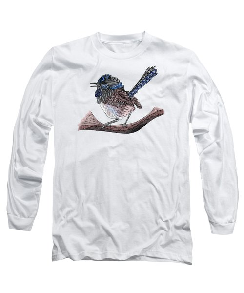 Blue Zen Wren Paisley Bird Long Sleeve T-Shirt by Lorraine Kelly