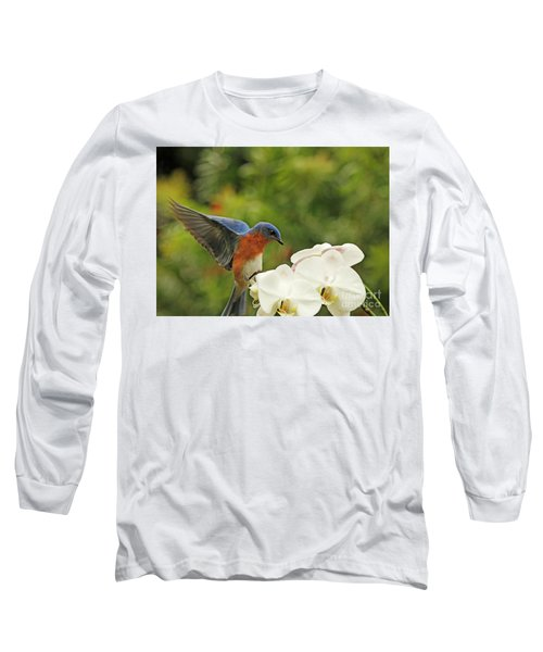 Bluebird Landing On Orchid Long Sleeve T-Shirt