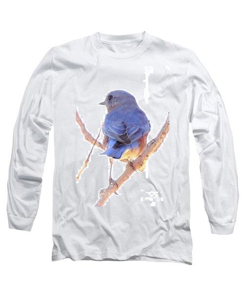 Bluebird On White Long Sleeve T-Shirt