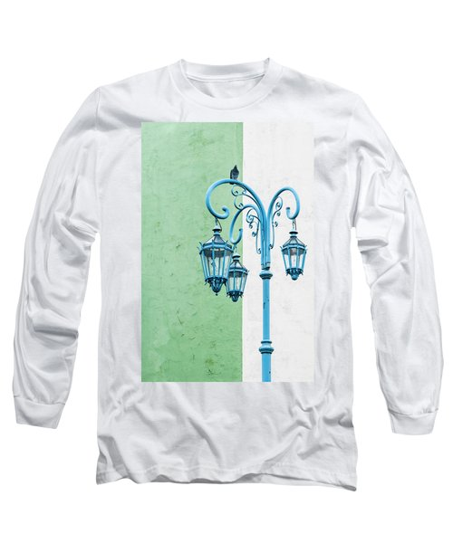 Blue,green And White Long Sleeve T-Shirt