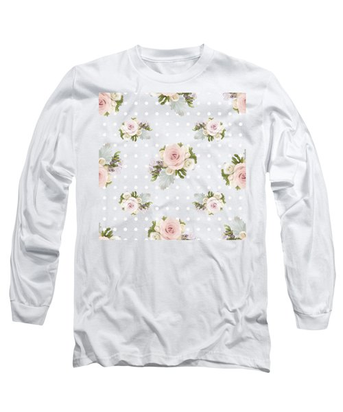 Long Sleeve T-Shirt featuring the painting Blush Pink Floral Rose Cluster W Dot Bedding Home Decor Art by Audrey Jeanne Roberts