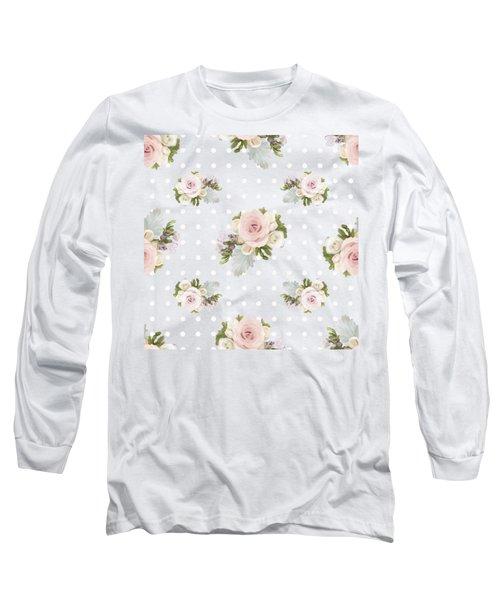 Blush Pink Floral Rose Cluster W Dot Bedding Home Decor Art Long Sleeve T-Shirt
