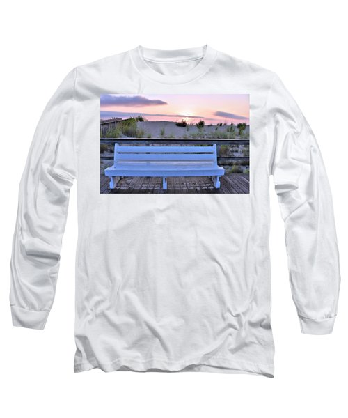 Long Sleeve T-Shirt featuring the photograph A Welcome Invitation -  The Boardwalk Bench by Kim Bemis