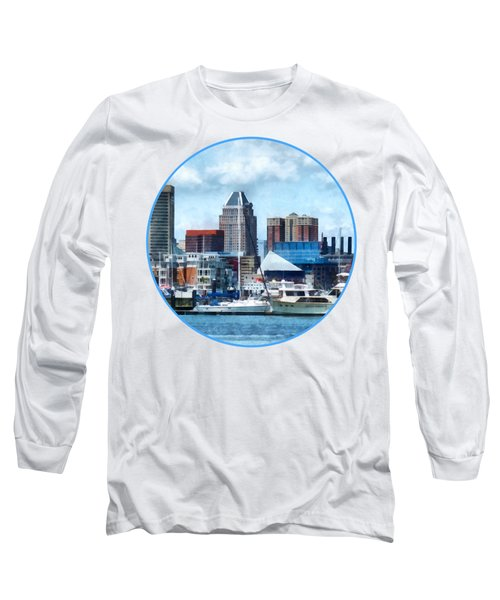 Boat - Baltimore Skyline And Harbor Long Sleeve T-Shirt
