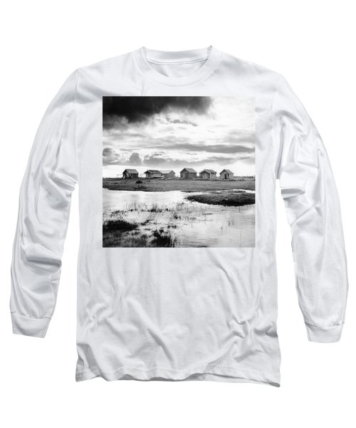 Boat Houses By The Shore In Kallahamn Harbor Long Sleeve T-Shirt