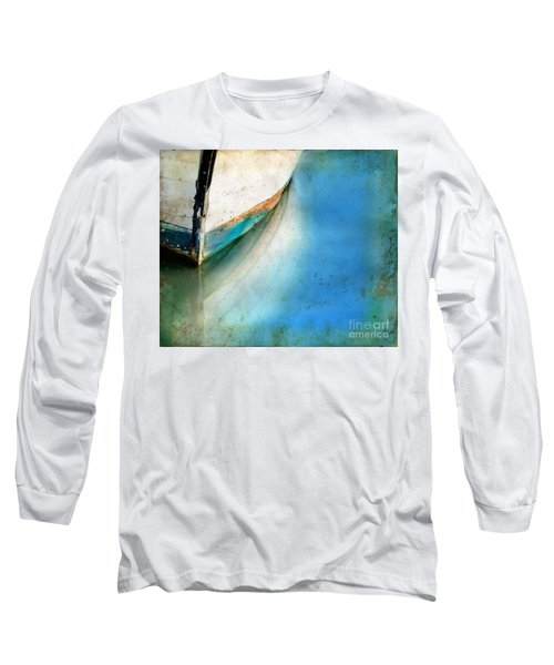 Bow Of An Old Boat Reflecting In Water Long Sleeve T-Shirt by Jill Battaglia