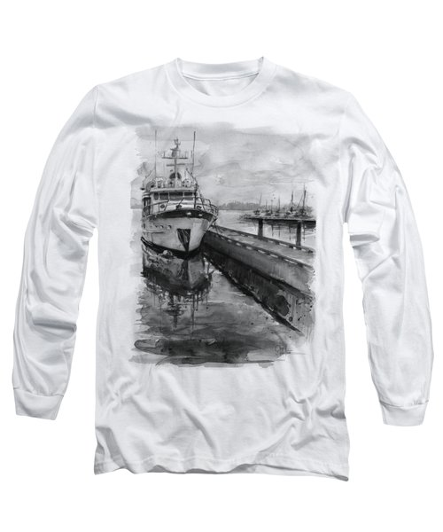 Boat On Waterfront Marina Kirkland Washington Long Sleeve T-Shirt by Olga Shvartsur