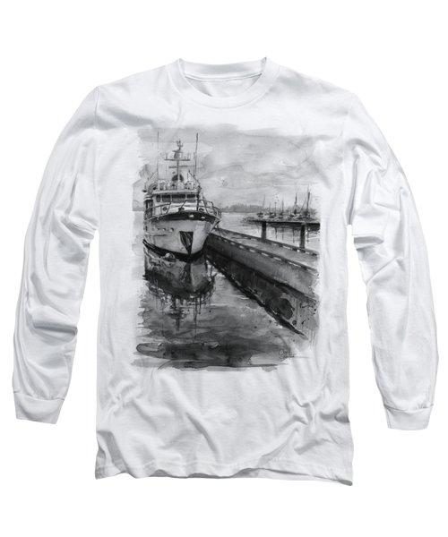 Boat On Waterfront Marina Kirkland Washington Long Sleeve T-Shirt