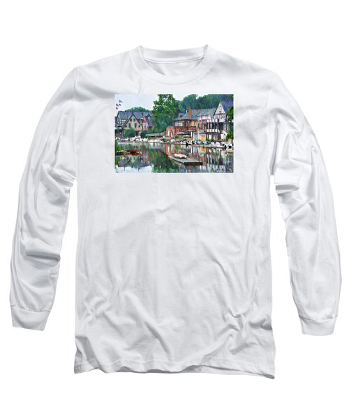 Long Sleeve T-Shirt featuring the photograph Boathouse Row In Philadelphia by Bill Cannon