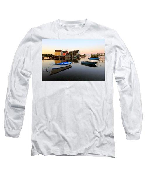 Boats And Fish Shacks At Blue Rocks, Nova Scotia Long Sleeve T-Shirt