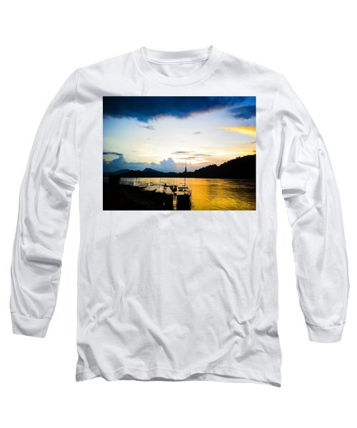 Boats In The Mekong River, Luang Prabang At Sunset Long Sleeve T-Shirt
