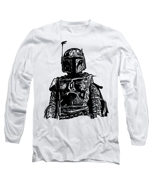 Boba Fett From The Star Wars Universe Long Sleeve T-Shirt by Edward Fielding