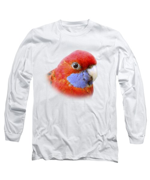 Bobby The Crimson Rosella On Transparent Background Long Sleeve T-Shirt by Terri Waters