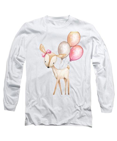 Boho Deer With Balloons Long Sleeve T-Shirt
