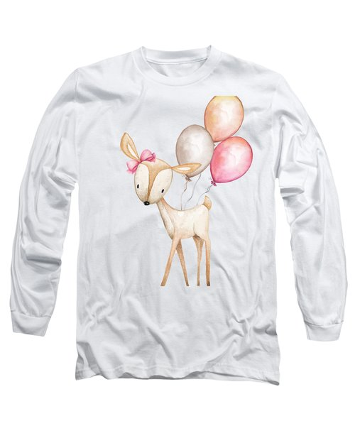Boho Deer With Balloons Long Sleeve T-Shirt
