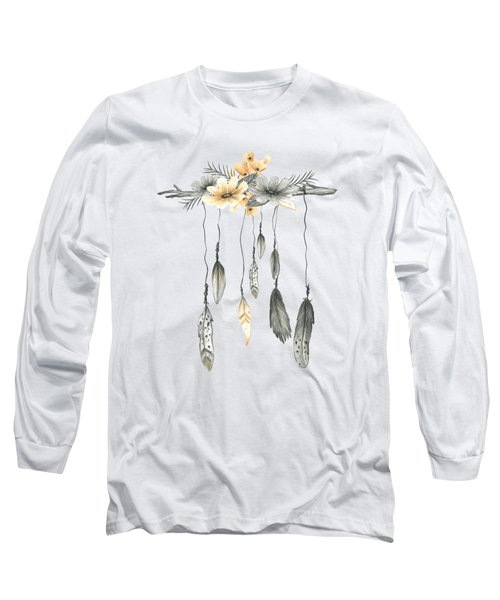 Boho Feathers Floral Branch Long Sleeve T-Shirt