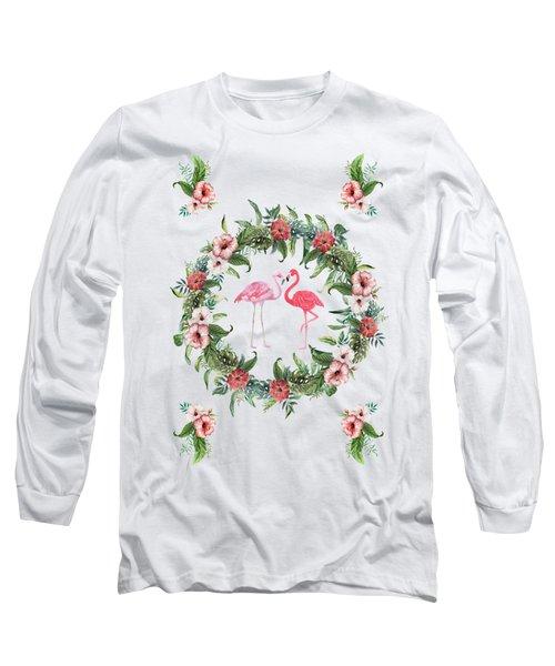 Boho Floral Tropical Wreath Flamingo Long Sleeve T-Shirt