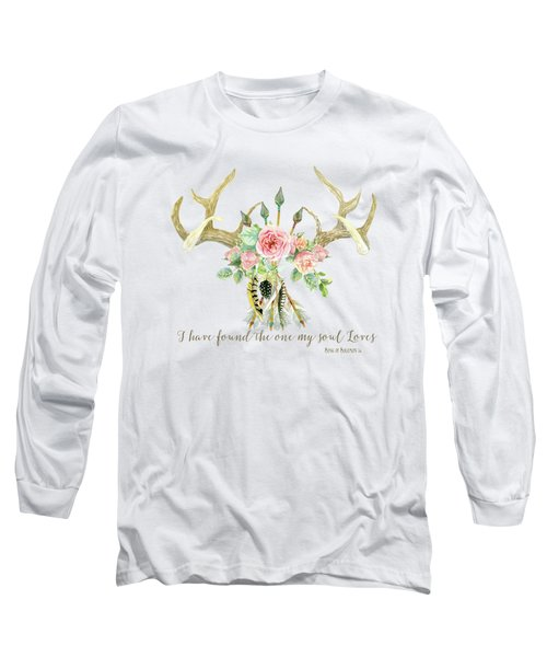 Long Sleeve T-Shirt featuring the painting Boho Love - Deer Antlers Floral Inspirational by Audrey Jeanne Roberts