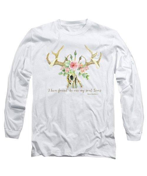 Boho Love - Deer Antlers Floral Inspirational Long Sleeve T-Shirt