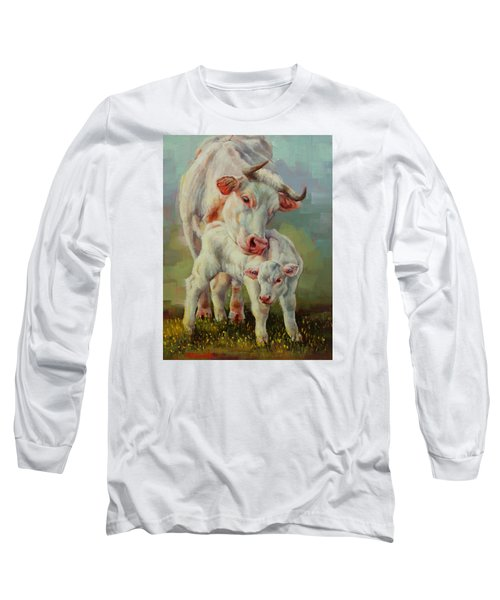 Long Sleeve T-Shirt featuring the painting Bonded Cow And Calf by Margaret Stockdale