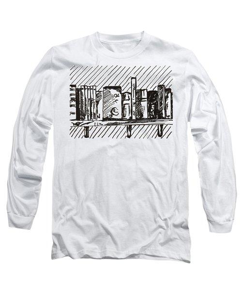 Bookshelf 1 2015 - Aceo Long Sleeve T-Shirt by Joseph A Langley